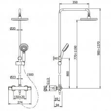 Termostatinė dušo sistema Omnires su stacionaria dušo galva maišančia orą su vandeniu