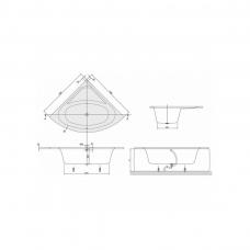 Akrilinė kampinė vonia Villeroy&Boch Loop&Friends Oval 140x140