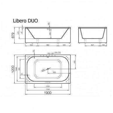 Akmens masės vonia Libero Duo 190x120 3