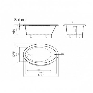 Akmens masės vonia Vispool SOLARE 1787x1075mm 11