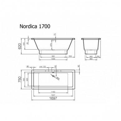 Akmens masės vonia Vispool NORDICA 1697x750mm 2