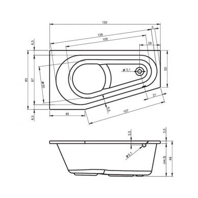 Akrilinė asimetrinė vonia RIHO DELTA 4