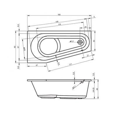 Akrilinė asimetrinė vonia RIHO DELTA 5