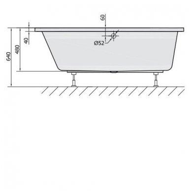 Akrilinė vonia Astra L 165x80 4
