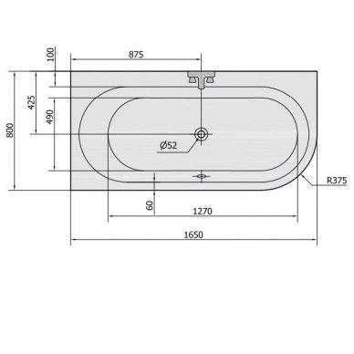 Akrilinė vonia Astra L 165x80 5