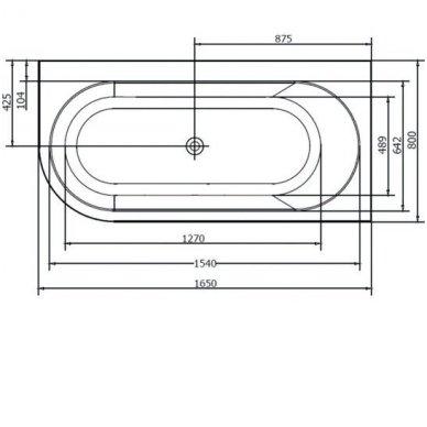 Akrilinė vonia Astra R 165x80 cm 5