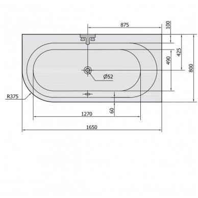 Akrilinė vonia Astra R 165x80 cm 3