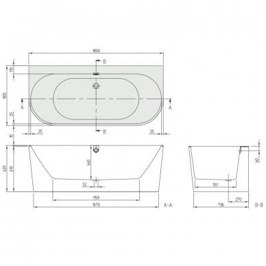 Akrilinė vonia Villeroy & Boch Oberon 2.0 180x80 su priekiniu uždengimu 3