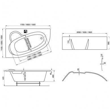 Akrilinė vonia Ravak Asymmetric 4