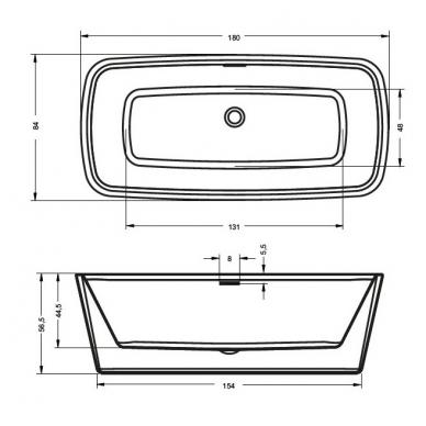 Laisvai pastatoma akrilinė vonia RIHO ADMIRE 3