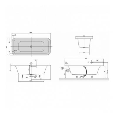 Akrilinė vonia Villeroy&Boch Loop&Friends Square Duo 180x80 2