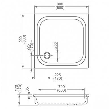 Roltechnik kvadratinis akrilinis dušo padėklas Cola 2