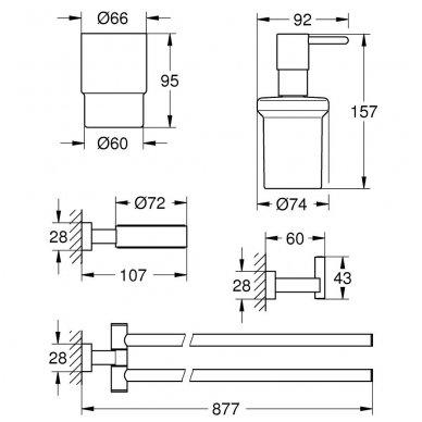 Aksesuarų komplektas Grohe Essentials Cube 2