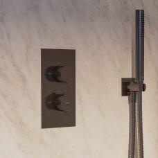 Antracito spalvos potinkinė termostatinė dušo sistema Omnires Contour SYSCT11AT