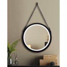 Apvalus veidrodis Ruke Belt su LED apšvietimu plačiame rėmelyje su dirželiu (spalvų ir dydžių pasirinkimas)