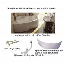 Asimetrinės vonios iš akrilo Ravak Asymmetric komplektas