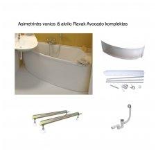 Asimetrinės vonios iš akrilo Ravak Avocado komplektas