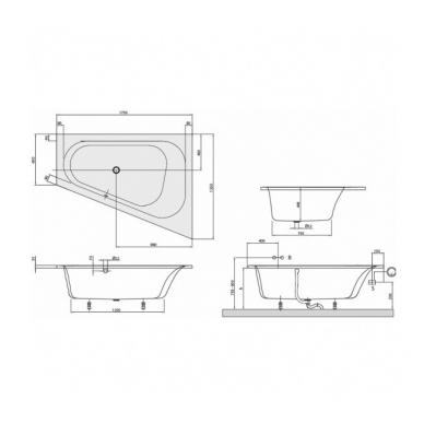 Asimetrinė akrilinė vonia Villeroy & Boch Loop &Friends Oval 175x135 3