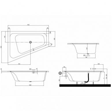 Asimetrinė akrilinė vonia Villeroy&Boch Loob&Friends Square 175x135 5