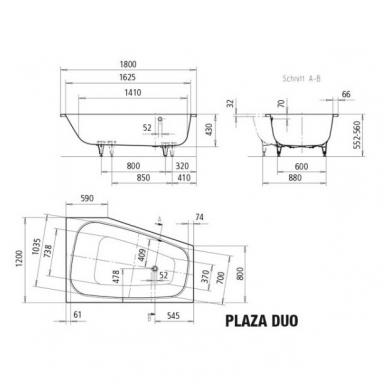 Asimetrinė plieninė vonia Kaldewei Plaza Duo 180x120 7