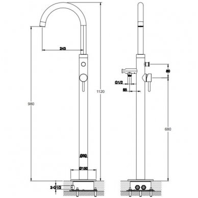 Juodas grindinis maišytuvas voniai Omnires Y1233BL Y 2