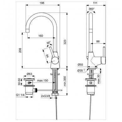 Aukštas maišytuvas praustuvui Ideal Standard Ceraline 2