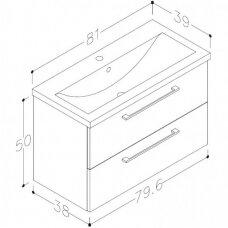 Raguvos Baldai trijų dalių komplektas su veidrodine spintele ir šviestuvu Scandic 80
