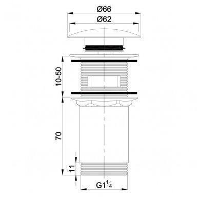 Baltos spalvos Click Clack dugno vožtuvas praustuvui su keraminiu padengimu 2