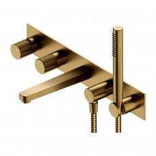 Braižyto aukso spalvos 5 dalių vonios maišytuvas Omnires Contour CT8037/1GLB