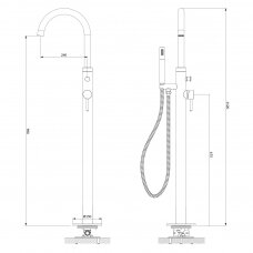 Braižyto aukso spalvos grindinis maišytuvas voniai Omnires Y1233GLB Y