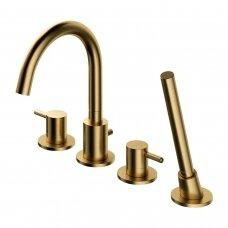 Braižyto aukso spalvos maišytuvas voniai su rankiniu dušu Omnires Y1232GLB Y