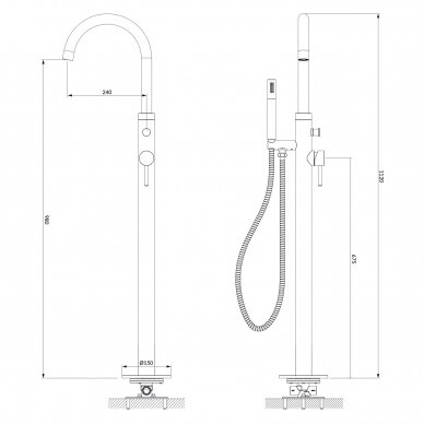 Braižyto aukso spalvos grindinis maišytuvas voniai Omnires Y1233GLB Y 2