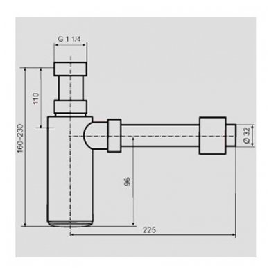 Chromuotas blizgus sifonas praustuvui Sanit Design 607 G11/4x32 3