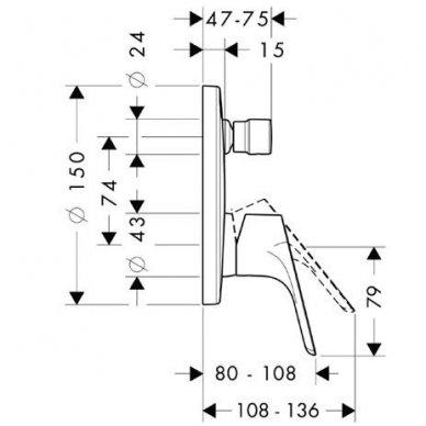 Dekoratyvinė dalis Hansgrohe Focus E2 potinkiniam vonios / dušo maišytuvui 2
