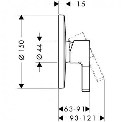 Dekoratyvinė dalis Hansgrohe Metris S potinkiniam dušo maišytuvui 2
