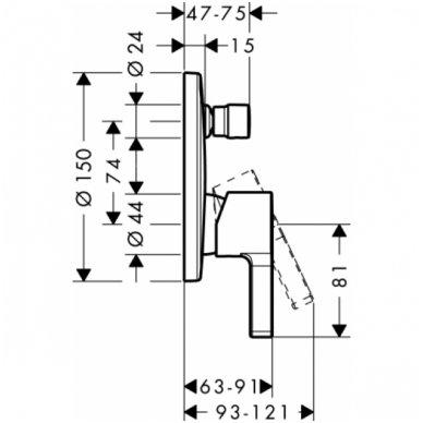 Dekoratyvinė dalis Hansgrohe Metris S potinkiniam vonios / dušo maišytuvui 2