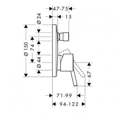 Dekoratyvinė dalis Hansgrohe Talis S potinkiniam vonios / dušo maišytuvui 2