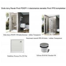 Dušo durų Ravak Pivot PDOP1 ir stacionarios sienelės Pivot PPS komplektas