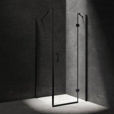 Dušo kabina Omnires Manhattan juodu profiliu atidaromomis durimis