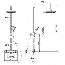 Dušo komplektas su termostatiniu maišytuvu Omnires Ygric