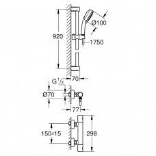 Dušo termostatas Grohe Grohtherm 800 Cosmo su dušo komplektu