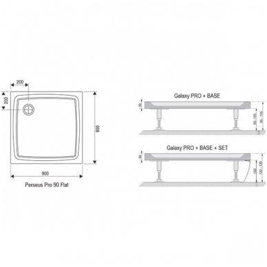 Dušo durų Ravak Pivot PDOP1 ir stacionarios sienelės Pivot PPS komplektas 7
