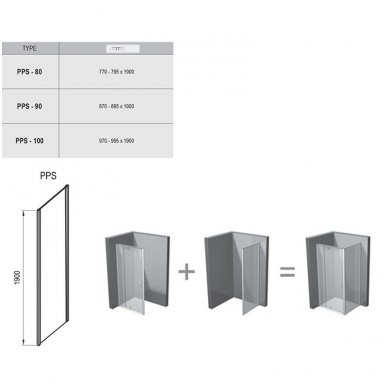Dušo durų Ravak Pivot PDOP1 ir stacionarios sienelės Pivot PPS komplektas 5