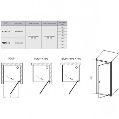 Dušo durų Ravak Pivot PDOP1 ir stacionarios sienelės Pivot PPS komplektas 3
