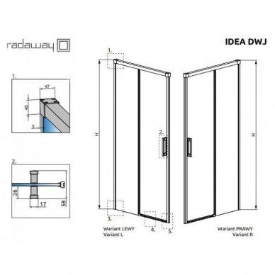 Dušo durys Radaway Idea Black DWJ (dydžių pasirinkimas) 7