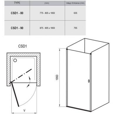 Dušo durys Ravak Chrome CSD1 3
