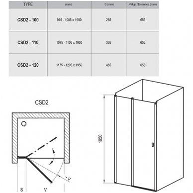 Dušo durys Ravak Chrome CSD2 3