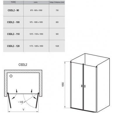 Dušo durys Ravak Chrome CSDL2 2
