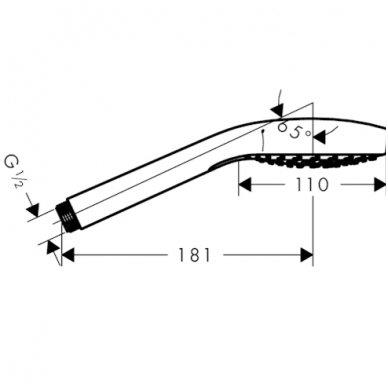 Dušo galvutė HANSGROHE CROMA SELECT S 3jet, Vario Ecosmart, balta/chromas 7