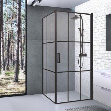 Dušo kabina Baltijos Brasta KRISTINA Nero Cube su skaidriu stiklu, 90x90x200cm